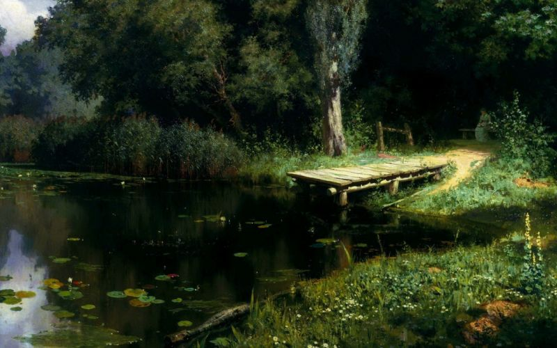 paintings piers ponds lakes lily pads Vasily Polenov wallpaper