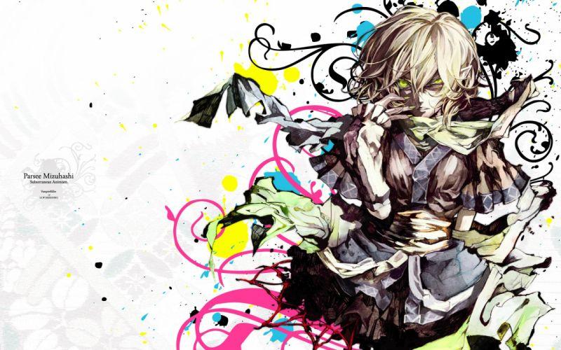 blondes video games Touhou text skirts green eyes short hair long nails scarfs Mizuhashi Parsee anime girls glowing eyes pointy ears detached sleeves nail polish Banpai Akira bangs parted lips wallpaper