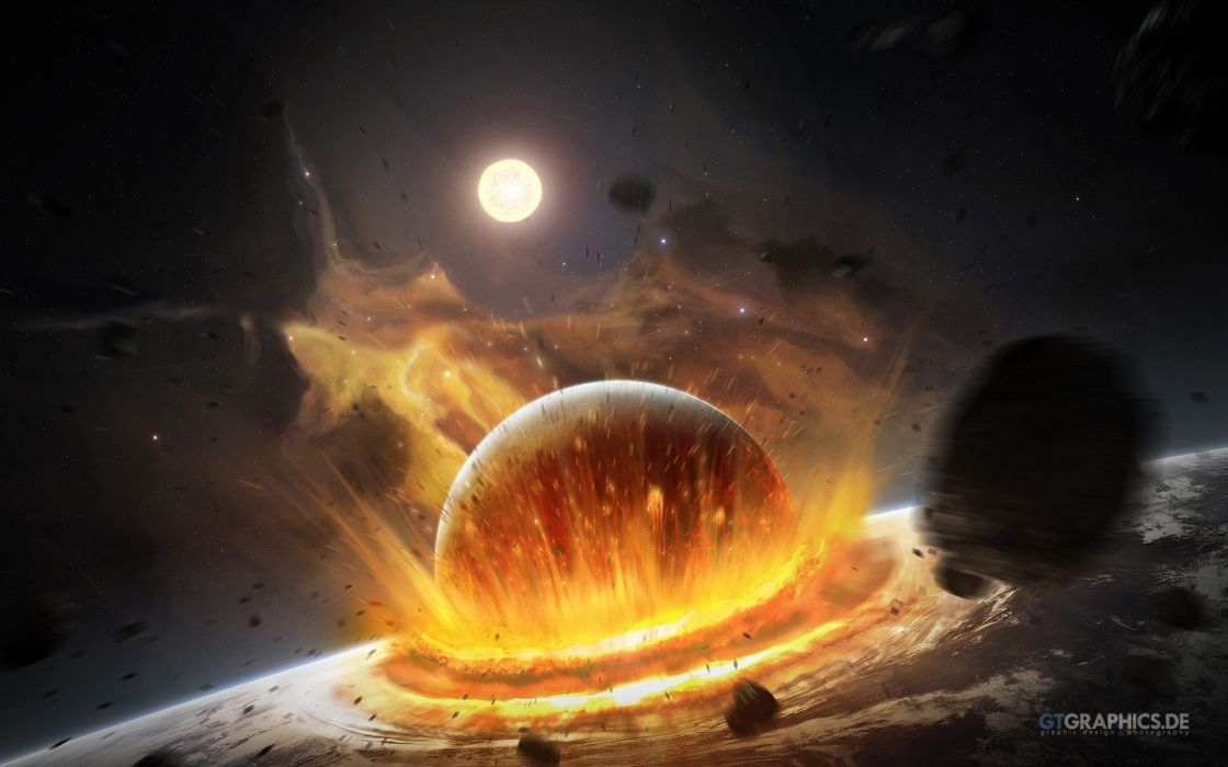outer space explosions fire impact meteors wallpaper