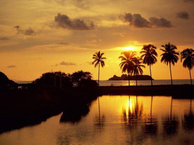 sunset sunrise Mexico palm trees resort North America beaches wallpaper
