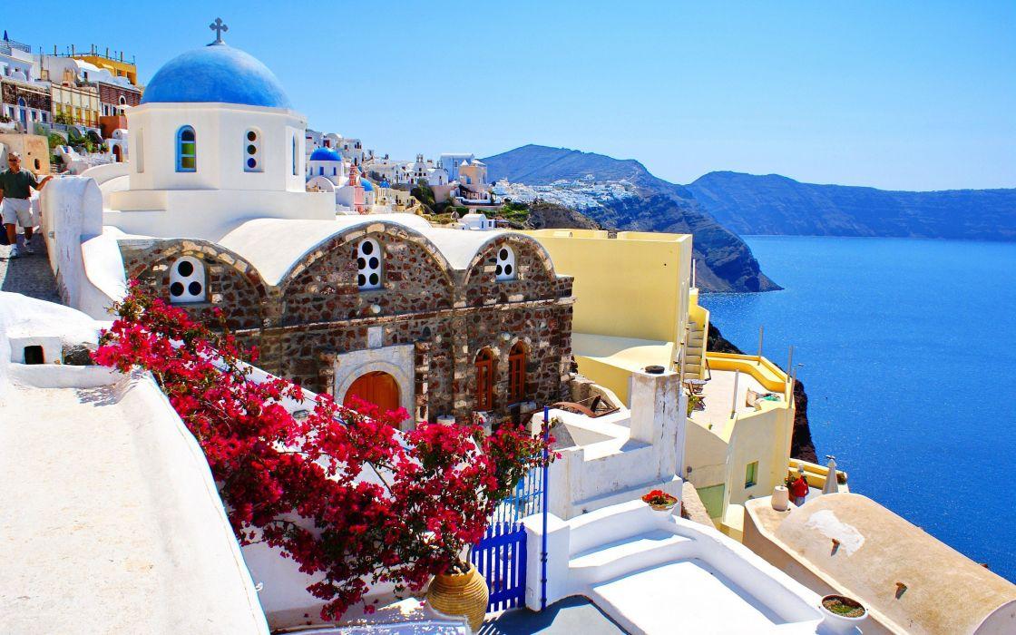 mountains coast cityscapes buildings Greece bougainvillea wallpaper