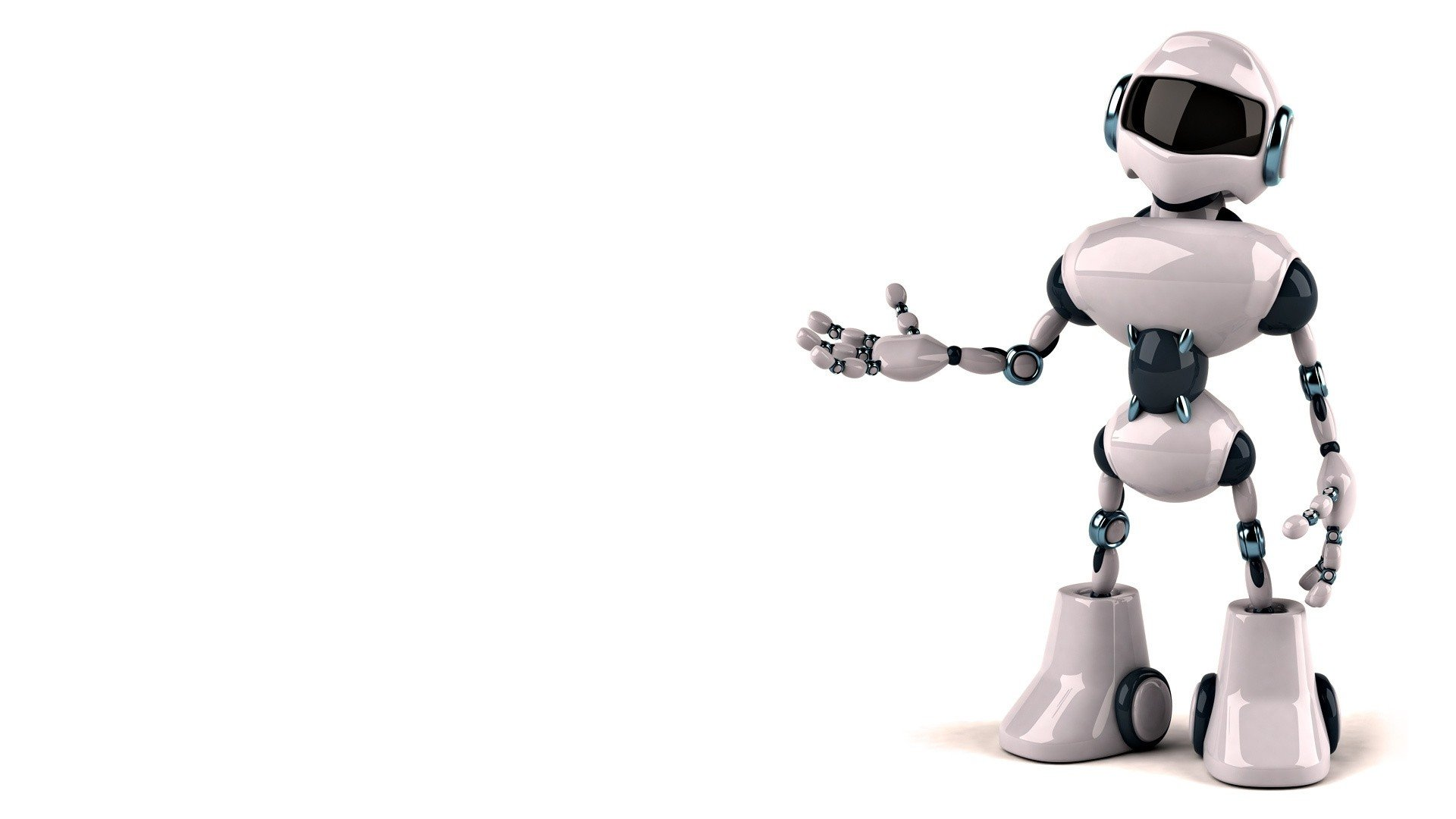 Robot Design Digital Art White Background Wallpaper