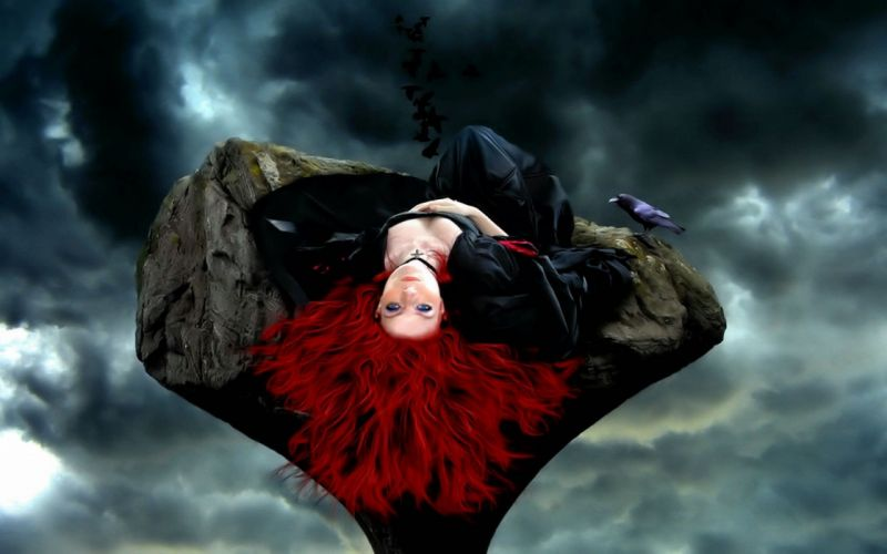 women artistic redheads rocks fantasy art wallpaper