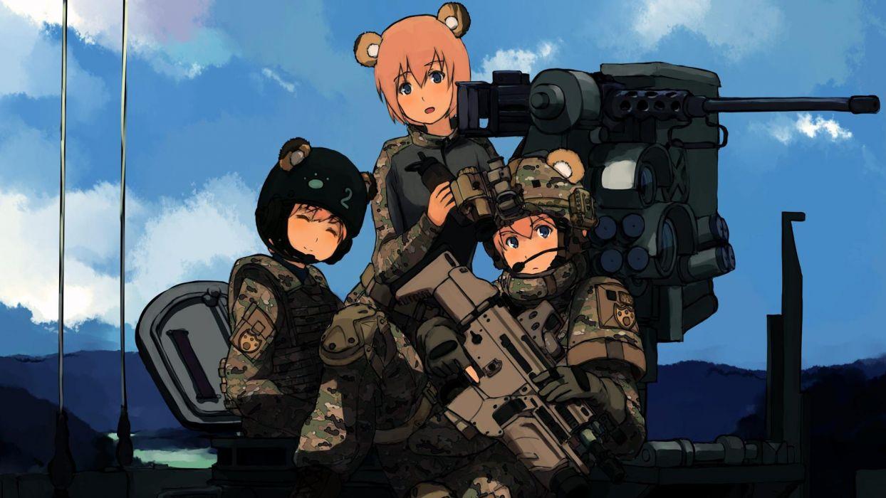 military blue eyes weapons animal ears assault rifle anime girls SCAR-H wallpaper
