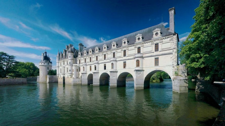 water bridges buildings lakes Chenonceau reflections Arch wallpaper