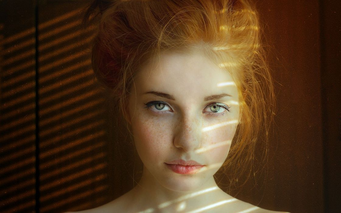 Women Close-Up Redheads Freckles Sunlight Faces Pale Skin Aleksandra V Wallpaper -2506