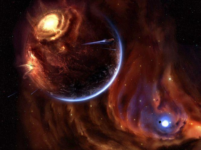 outer space digital art wallpaper