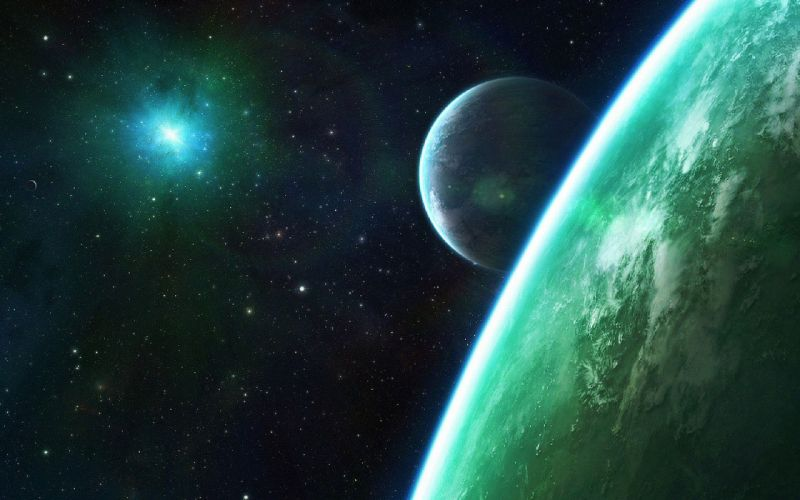outer space stars planets digital art wallpaper