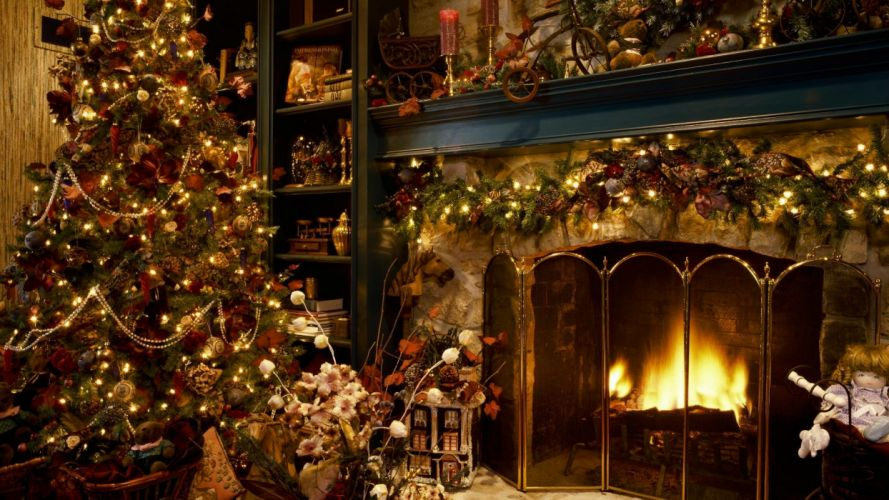 Christmas fireplaces wallpaper