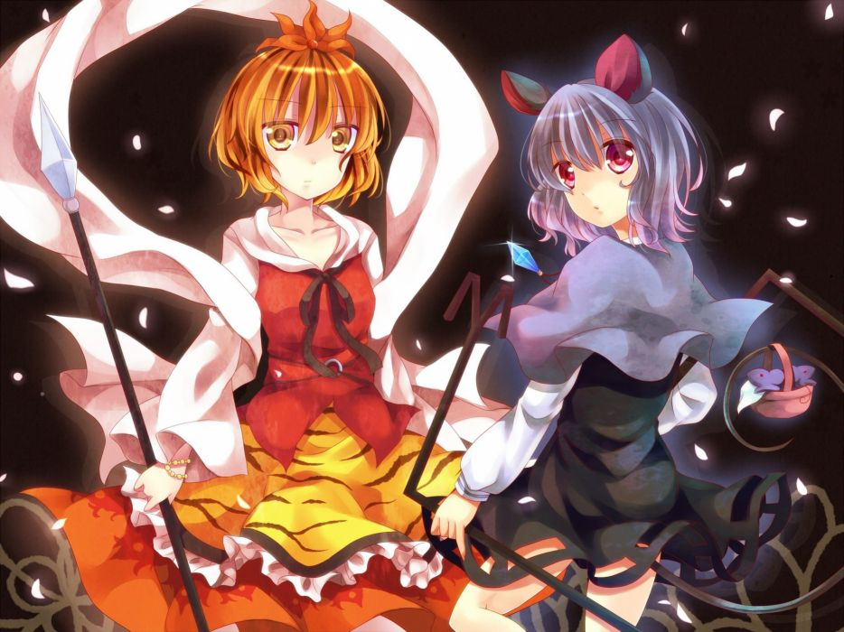 tails Touhou animal ears red eyes short hair yellow eyes Hazuki gray hair Nazrin Toramaru Shou ikeda wallpaper