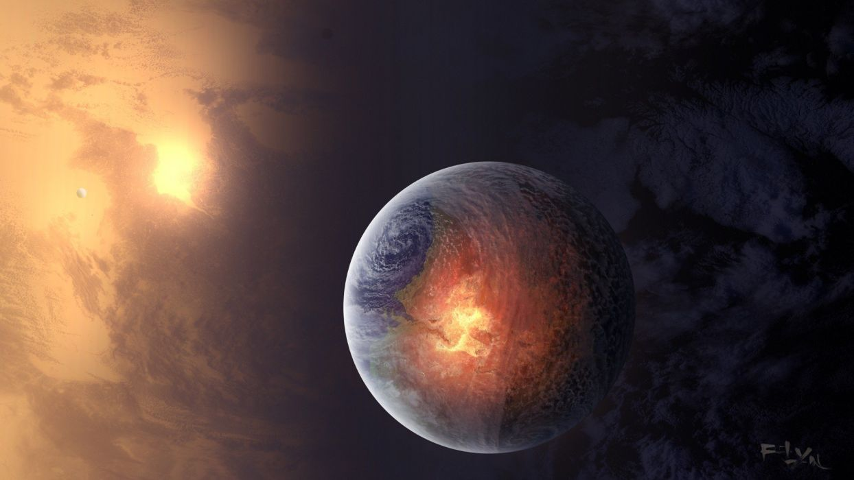 outer space planets fire science fiction wallpaper