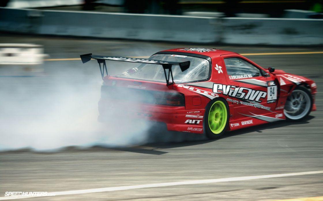 cars drifting cars red cars Mazda RX-7 FC-3S wallpaper