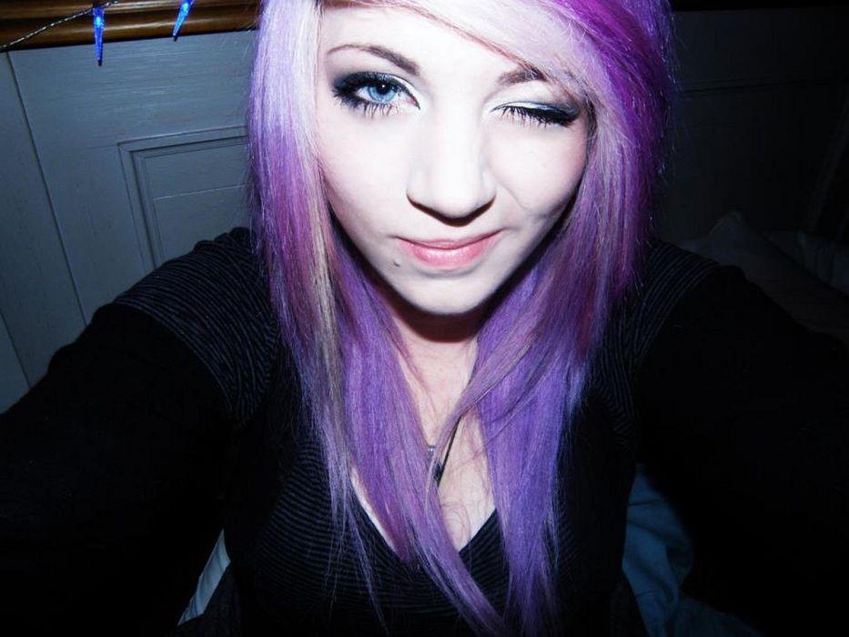 women blue eyes purple hair faces emo girls wallpaper