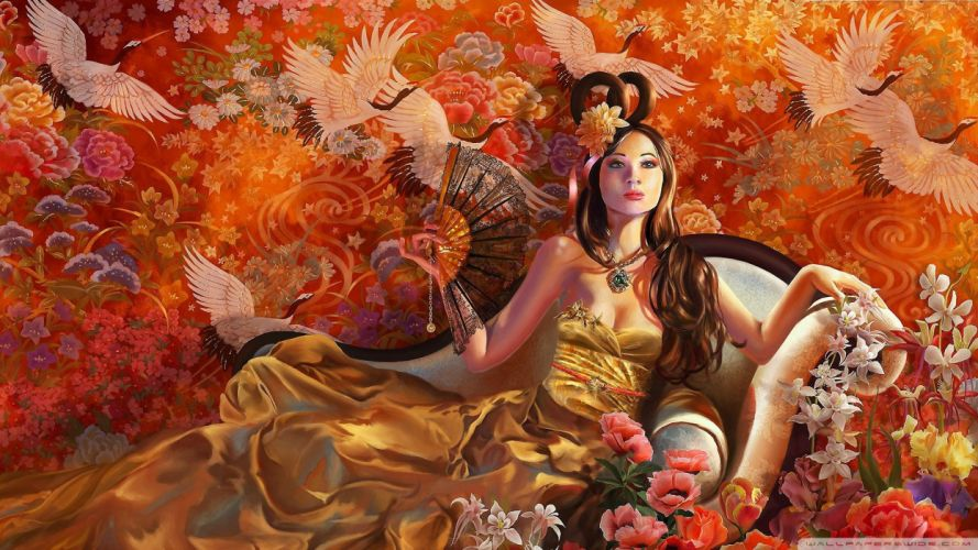 fantasy art cranes TagNotAllowedTooSubjective chinese drawings wallpaper
