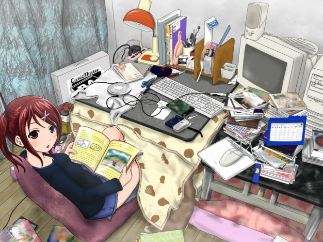 headphones computers room redheads keyboards skirts red eyes messy anime anime girls wallpaper