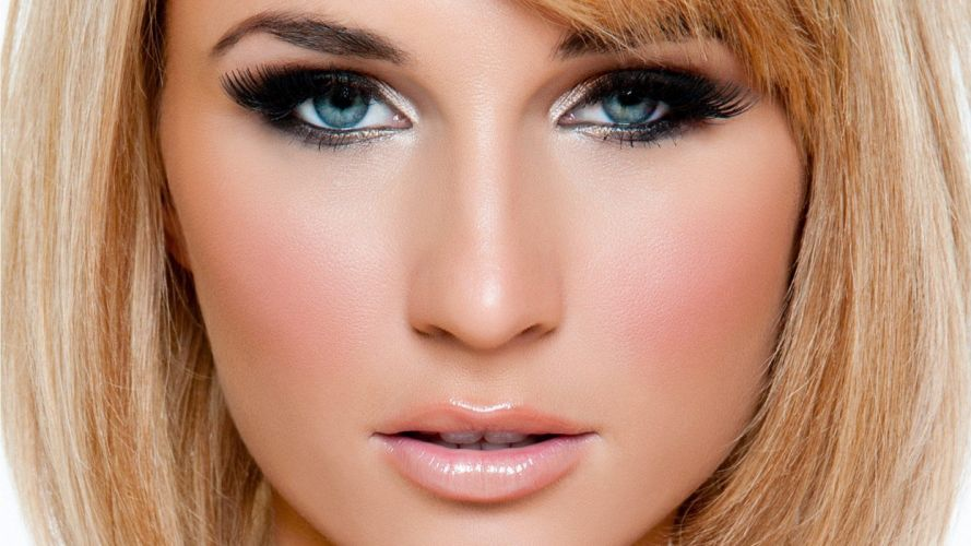 blondes women close-up blue eyes actress models United Kingdom Billie Faiers smoky eyes Glamour Model wallpaper