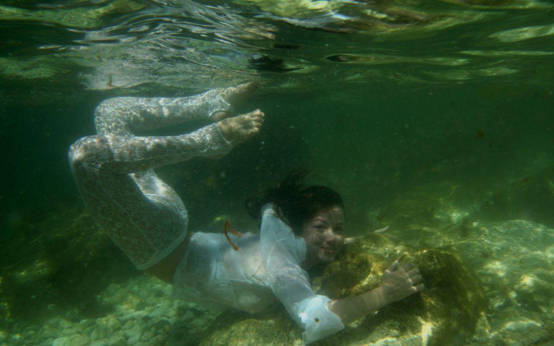 women models wet Met-Art magazine see-through swimming white dress underwater arched back black hair Firebird A wallpaper