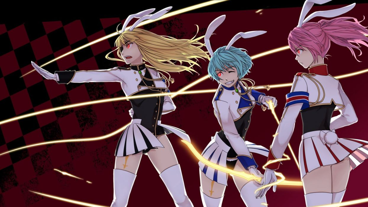 blondes tattoos tails soldiers video games uniforms army gloves military Umineko no Naku Koro ni long hair archers weapons eyepatch blue hair bunny girls pink hair animal ears red eyes visual novels short hair thigh highs twintails checkered battles grin  wallpaper