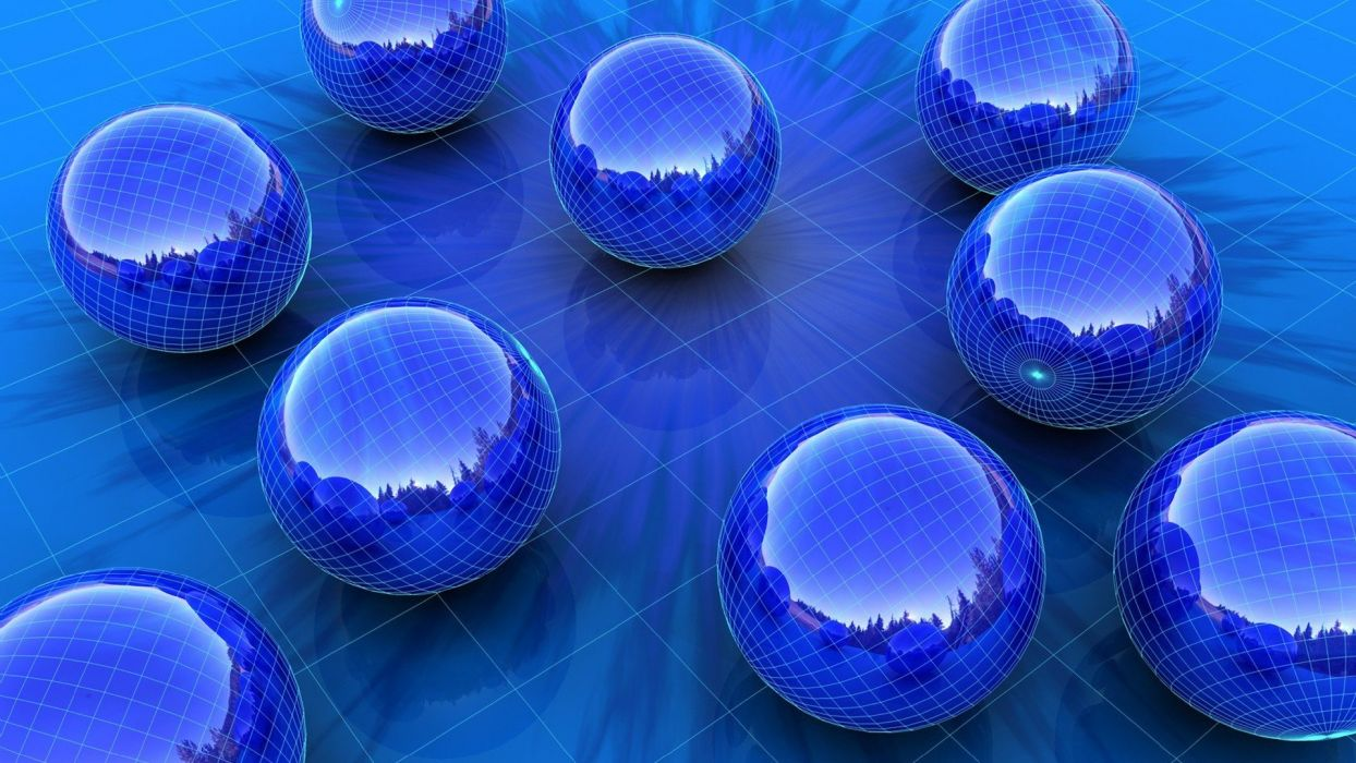 3D view abstract CGI balls grid burst spheres 3D renders 3D modeling reflections wallpaper