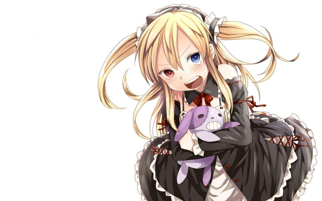blondes heterochromia blush crying Boku Wa Tomodachi Ga Sukunai maid costumes Hasegawa Kobato wallpaper