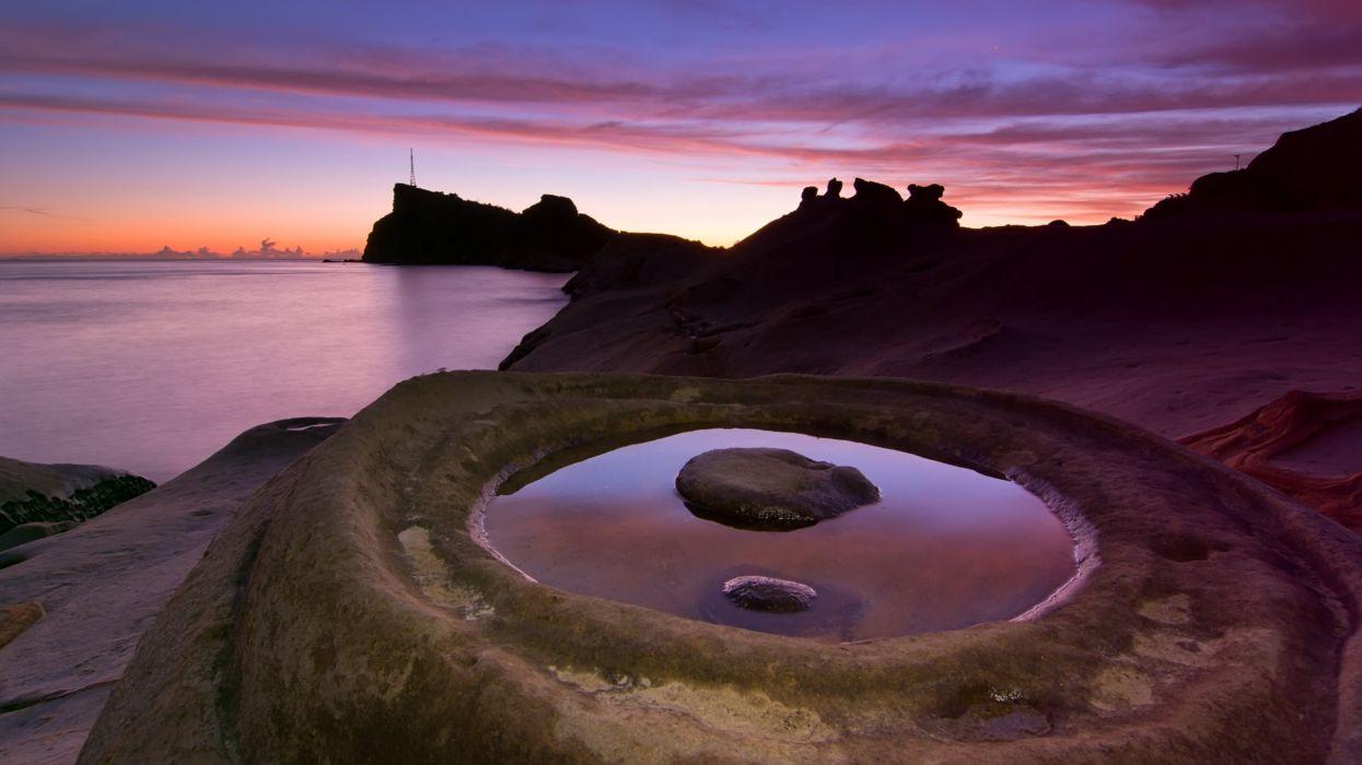 water sunrise nature rocks stones circles wallpaper