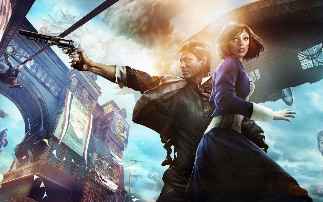 brunettes women video games BioShock steampunk Bioshock Infinite Booker Dewitt Anna DeWitt wallpaper