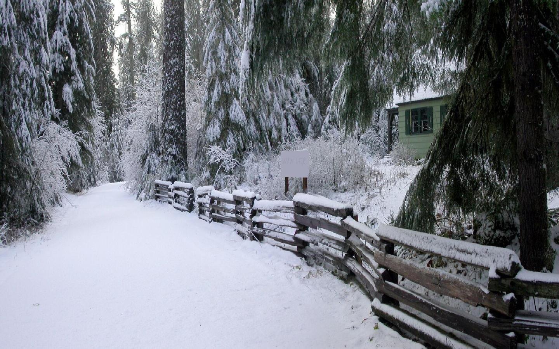 Winter Snow Fences Cabin Wallpaper 1440x900 260589 Wallpaperup