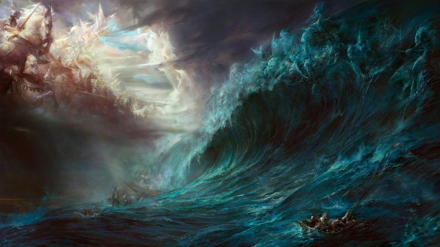 fantasy waves horses battles artwork warriors wallpaper