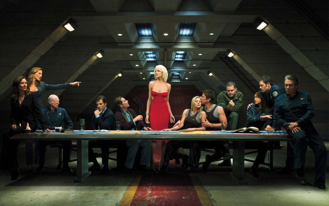 blondes women Grace Park Battlestar Galactica Tricia Helfer The Last Supper Edward James Olmos Admiral William Adama Katee Sackhoff James Callis Aaron Douglas Michael Hogan Mary McDonnell Jamie Bamber Saul Tigh Lee Adama Galen Tyrol Tahmoh Penikett Michae wallpaper