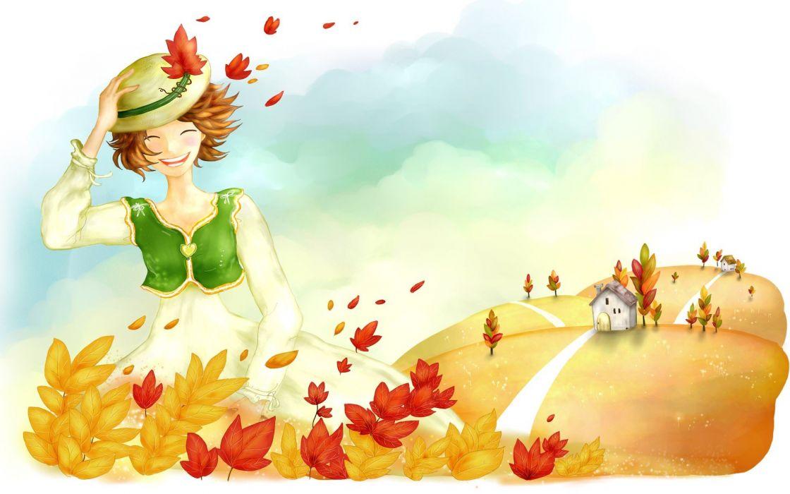 leaves artwork wallpaper
