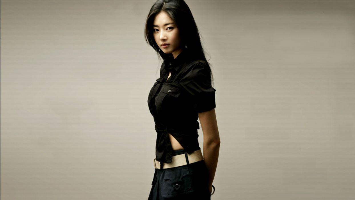 women Korea Kim Sa Rang simple background wallpaper