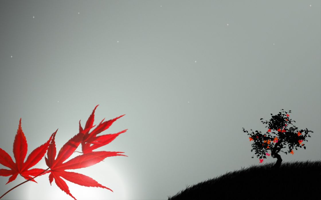 leaf trees silhouettes wallpaper