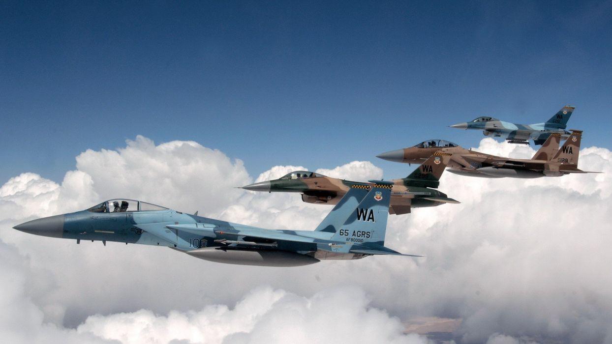 aircraft F-16 Fighting Falcon aviation air skies wallpaper