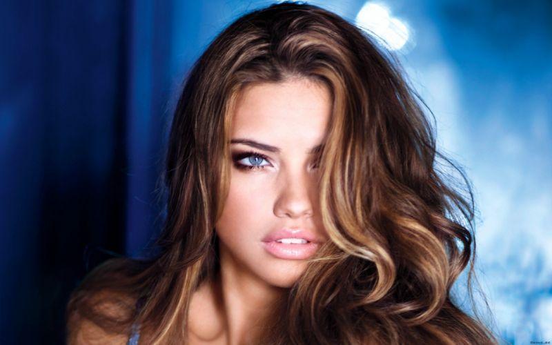brunettes women Adriana Lima blue eyes Victorias Secret wallpaper