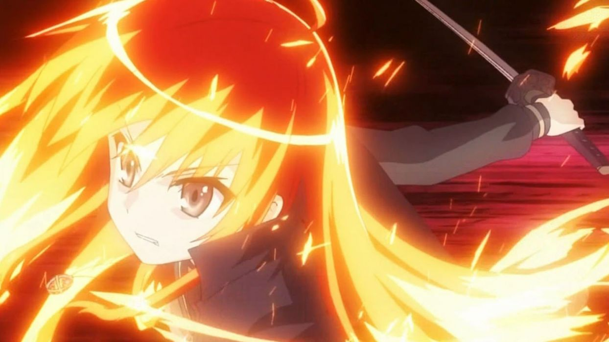 Flames shakugan no shana red yellow fire weapons shana red eyes anime manga flame haze anime