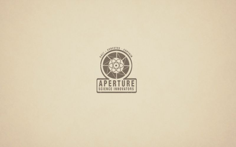 video games Portal minimalistic vintage oldschool Aperture Laboratories logos portals wallpaper