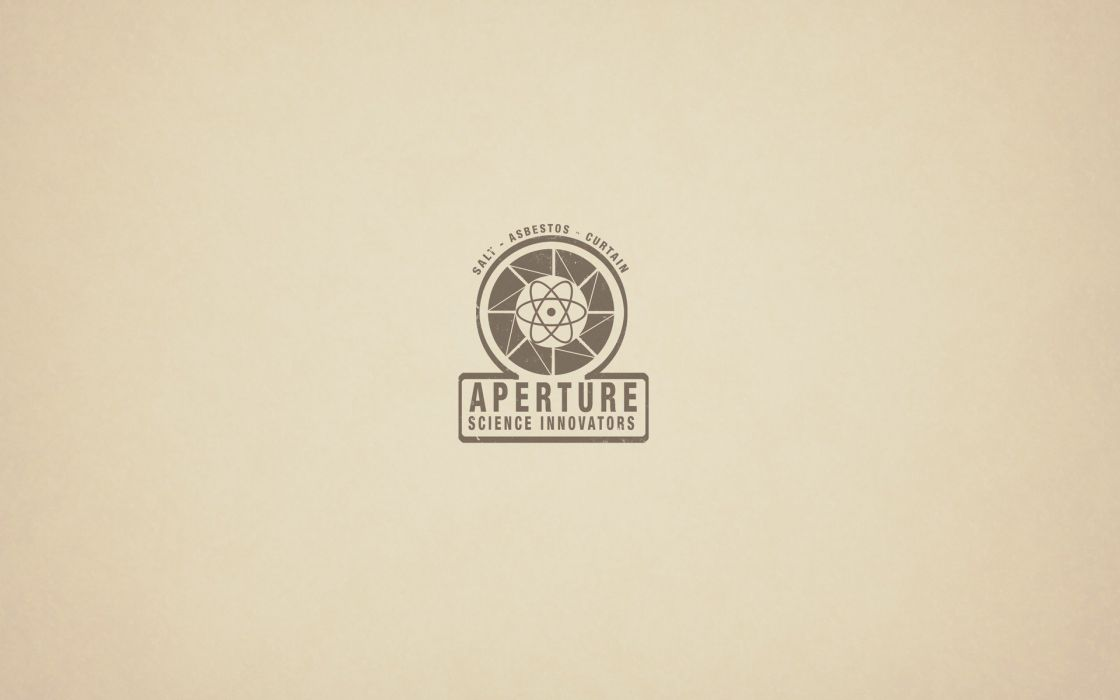 video games Portal minimalistic vintage oldschool Aperture Laboratories logos portals wallpaper
