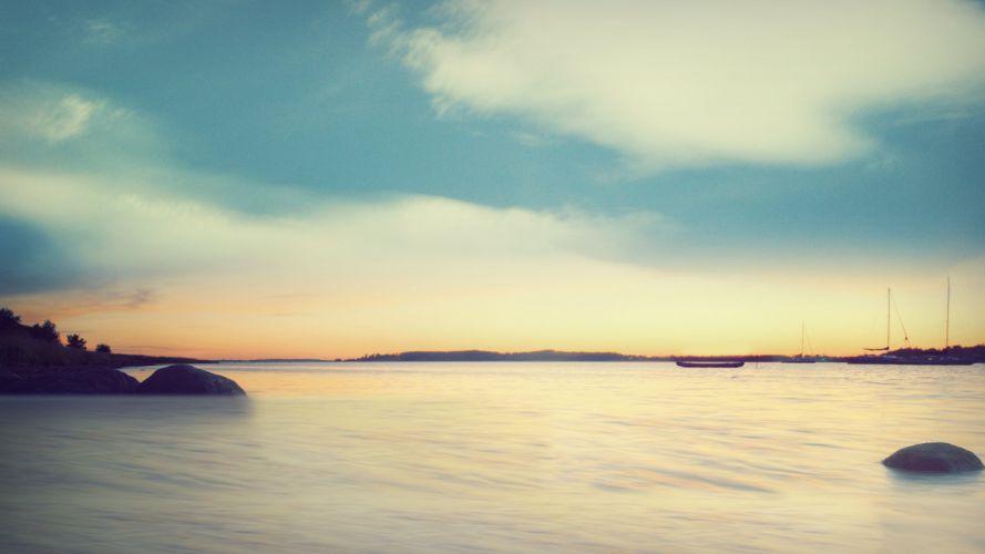 clouds landscapes coast dawn dreamy sea wallpaper