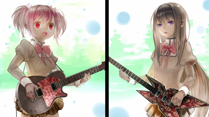brunettes pink hair guitars Mahou Shoujo Madoka Magica Kaname Madoka Akemi Homura purple eyes pink eyes anime girls wallpaper