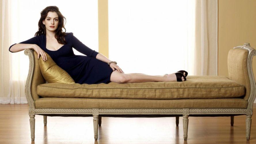 brunettes women Anne Hathaway wallpaper