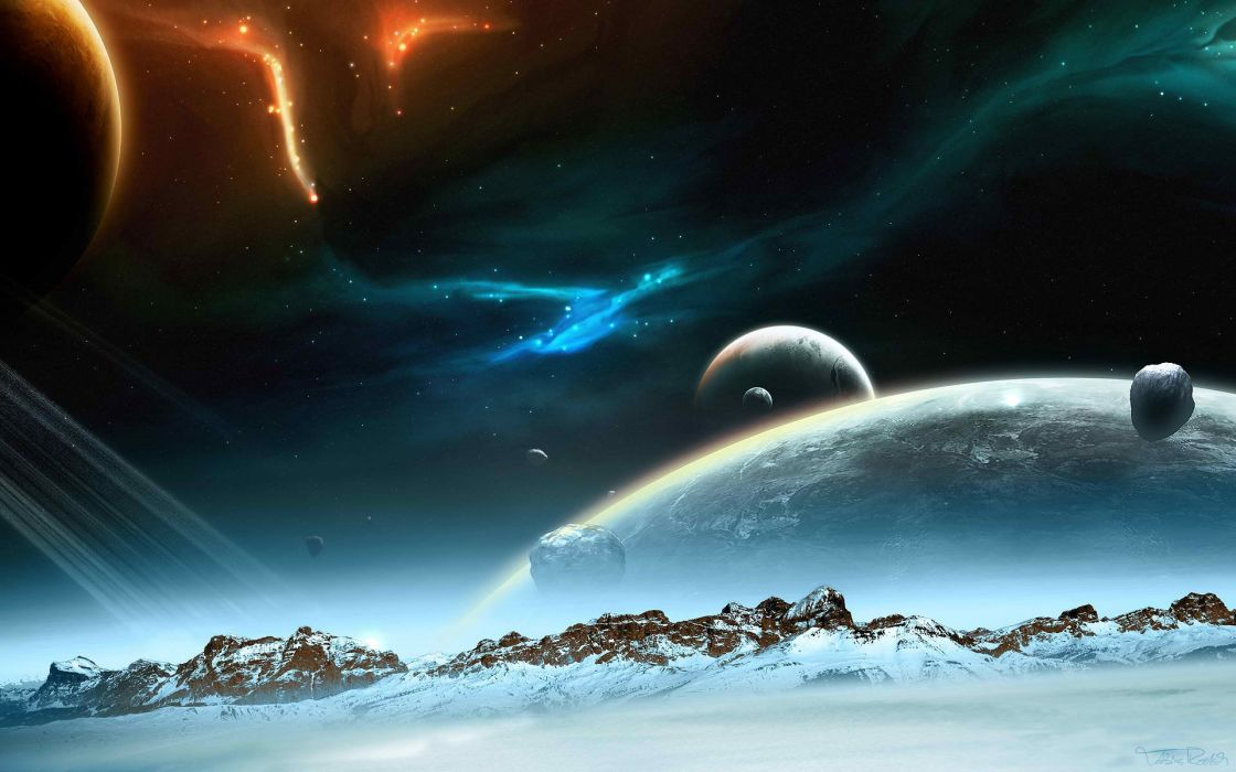 outer space planets arctic digital art wallpaper