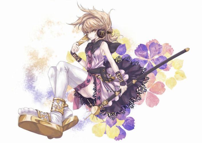 headphones brunettes women Touhou dress stockings ecchi ass brown eyes anime anime girls broomsticks wallpaper