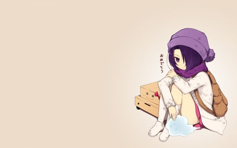 skirts cardboard purple hair short hair The World God Only Knows sitting scarfs purple eyes bags hats simple background anime girls brown background boxes wallpaper