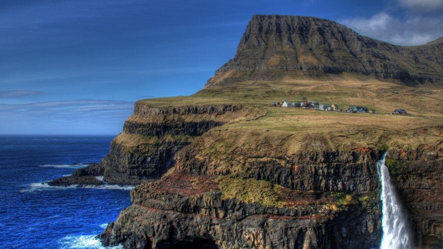 landscapes nature coast cliffs landmark Faroe Islands sea wallpaper