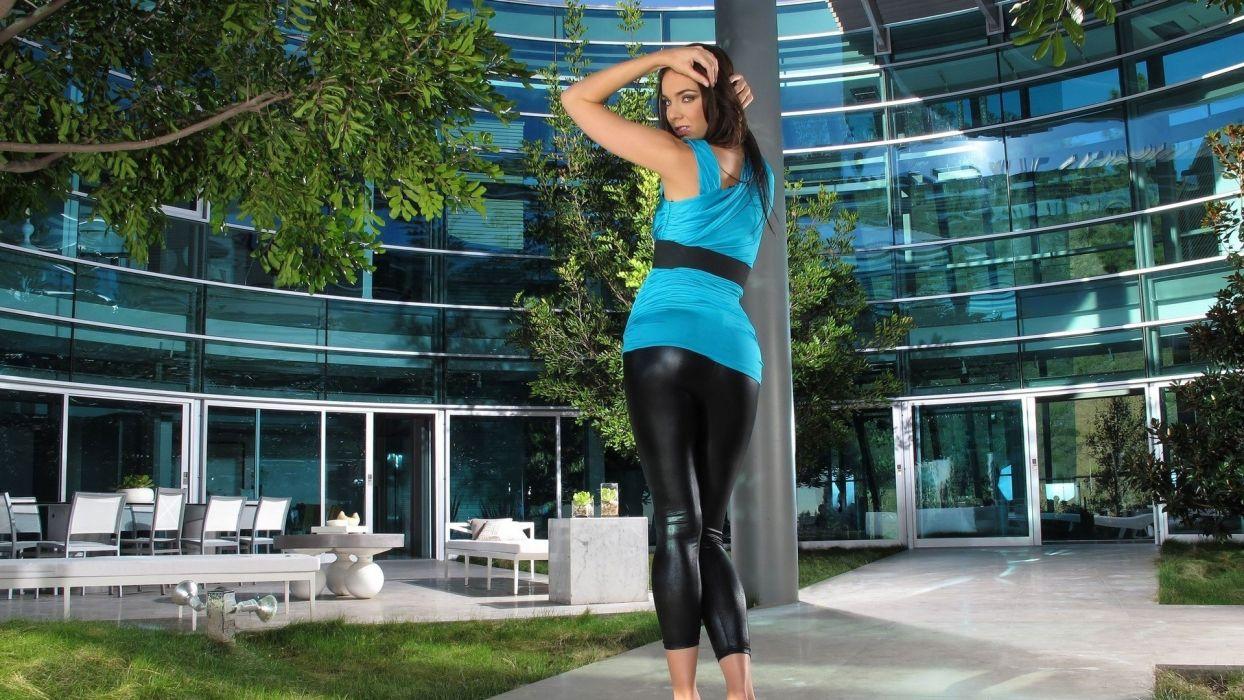 women models leggings blue dress Tiffany Tyler arms raised head back backside wetlook glossy texture wallpaper