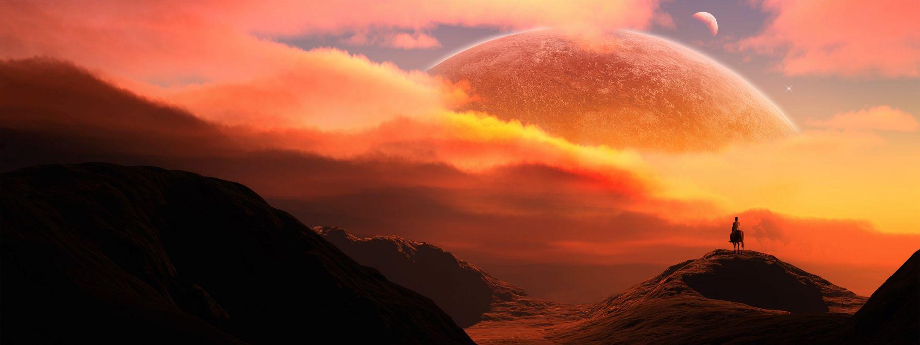 fantasy clouds landscapes rider planets Moon hills horses wallpaper