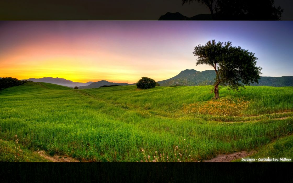 sunset landscapes nature fields HDR photography photo manipulation Mediterranean wallpaper