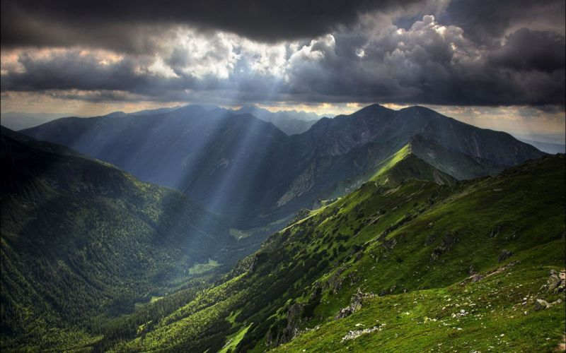 mountains clouds landscapes sunlight wallpaper