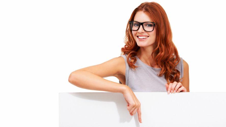 women redheads models glasses red hat white background wallpaper