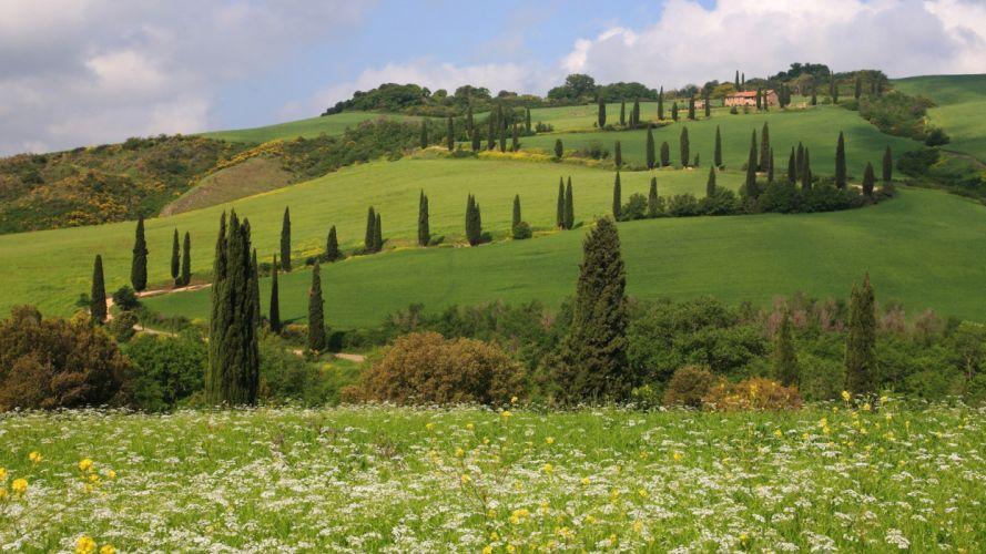 landscapes hills Italy Siena Toscana Tuscany Monticchiello Pienza wallpaper